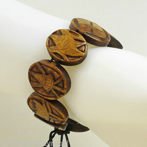 Bracelet Dark Brown Wrist Jewellery Buddha Handmade Engraving Good Luck 77a