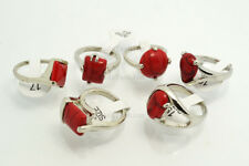 wholesale 20pcs Silver Tone mixed Red Natural turquoise Gemstone stone Ring FREE