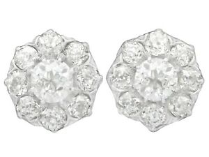 3.37 ct Diamond and 12k Yellow Gold Cluster Earrings - Antique Circa 1910