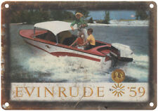 """Evinrude Outboard Motors 1959 Vintage Ad 10"""" x 7"""" Reproduction Metal Sign"""