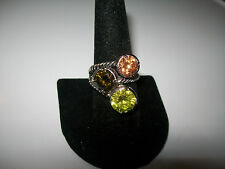 LOVELY VINTAGE GREEN SAPPHIRE AND MORGANITE ROPE RING SIZE 8