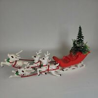 Vintage RED SLEIGH with WHITE Spotted REINDEER & GREENERY - Hong Kong.