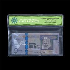 WR Saudi Arabia 500 Riyals Color Silver Banknote Commemorative Note In Sleeve