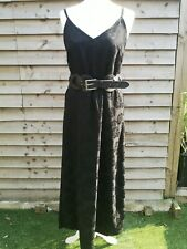 Vintage 90s Topshop Black Strappy Cami Long Maxi Dress Sunflower Pattern Size 12