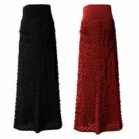 LADIES WOMEN STUNNING FRILL CHEVRON LONG MAXI SKIRT SIZE 10 12 14 16 18 20 22 24