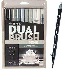 Tombow Dual Brush Pens, Grayscale Palette, 56171, 10 Pen Set