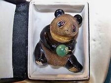 Vintage Dorado Esmalte de exportación de plata esterlina Chino Jade Granate Panda Broche Pin
