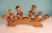 Set Of Six Vintage German Wood, Animated Cork Wine Bottle Stoppers With Stand