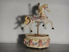 """Vintage Wind-up Music Box Horse """"Carousel Waltz"""" Heart Shaped"""