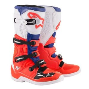 ALPINESTARS TECH 5 BOOTS RED FLUO BLUE WHITE MOTOCROSS MX OFF ROAD NEW FLO SALE