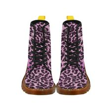 8ab6aa94f07 Poison Arrow Clothing Pink Leopard Womens Canvas Combat Boots BN Boxed UK  SZ8