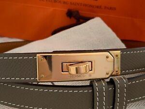 Hermes Kelly Belt Etoupe with Rose Gold HW