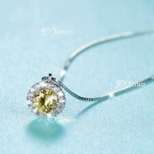 925 silver made with Swarovski crystal pendant chain necklace round citrine .5ct
