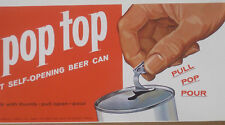"""24"""" 1962 <Dated> Schlitz Orig. Lithograph 1st Zip Top Beer Cans Advertising Sign"""