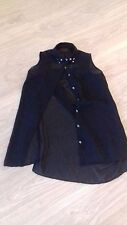 "VGC SIZE 6 BLACK CHIFFON LONG LINE SLEEVELESS TOP WITH STUDS AND ""BEAD"" DETAIL"
