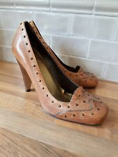 Faith Tan Brown Leather Studded High Heel Court Shoes UK 7 Office Work Casual