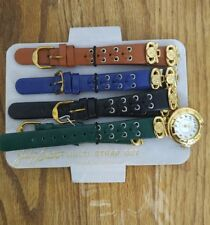 JACLYN SMITH LADIES WATCH GOLD W/ MULTI STRAP SET GREEN BLACK BLUE BROWN QUARTZ