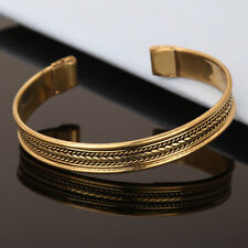 Bracelet Unisex Cuff Link Brass Magnetic Pain Therapy Healing Bangle