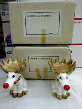 2 Fitz And Floyd Rudolph Reindeer Candle Holder Handpainted 1976 Japan w/ boxes