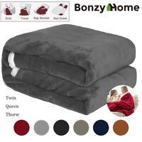 Sherpa Flannel Fleece Blanket Plush Warm Home Sofa Bed Throw Twin Queen Xmas Gif