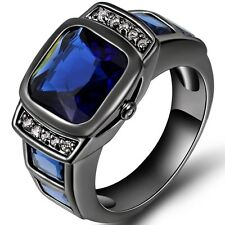 Size 5-12 Blk Princess Cut Sapphire  Wedding Engagement Ring Anniversary Promise