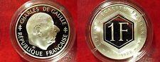 1988 France Large Silver Proof 1 fr Charles de Gaulle
