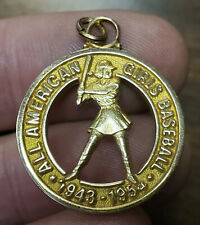 Old 1943-1954 ALL AMERICAN GIRL BASEBALL Gold Filled Rockford Peaches MEDAL