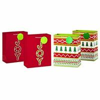"Hallmark 13"" Large Christmas Gift Bag Bundle, Joy (Pack of 4, 2 Designs)"