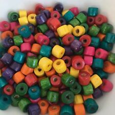 150X Multi Colour Wooden Beads 7x4mm Tube Barrel Bead Macrame Jewellery Spacers