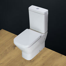 Toilet WC Close Coupled Ceramic Square Heavy Duty Soft Close Seat Bathroom T131