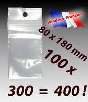LOT 100  sachets plastique zip pochettes pochons 80x180 8x18 f