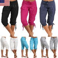 Womens Lady Summer Casual Loose Shorts Bermuda Capri Pants Cropped Knee Trousers