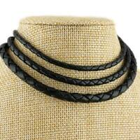 Black Braided Genuine Leather Cord Necklace 3, 4 or 5mm Thickness