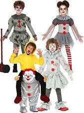 Kids Evil Vintage Grey Clown Costume Boys Girls Halloween Piggy Back Fancy Dress
