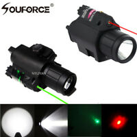 LED Flashlight Tactical Torch&RED/Green Laser Sight 20mm Picatinny Rail F Rifle