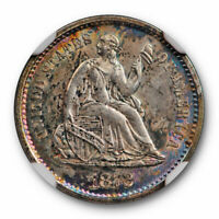 1872 S Seated Liberty Half Dime NGC MS 62 Uncirculated Colorful Toned MM Below