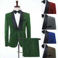 Mens Lurex Shawl Lapel Suits Jacket Pants Groom Tuxedo Prom Dinner Costume Party