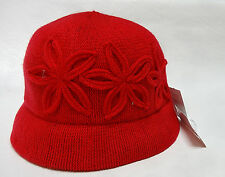 August Hat Company womens Flowers adornments red or chocolate cloche hat OS NEW