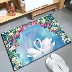 White Pink Flower Swan Lake Kitchen Area Rug Non-Slip Mat Durable Doormat Carpet