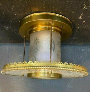 Antique Vintage Etched Round Brass Ceiling Light Fixture