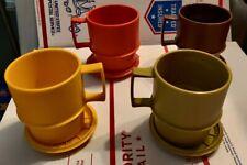 Vinatge Tupperware Mugs & Saucers Set/4  #1312 Harvest Colors 9oz. Stackable