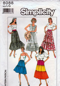 Simplicity Pattern 8088 ©1986, Misses Easy Pull-On Peasant Skirts, Sz LG MINT