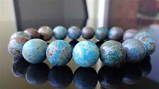 """Genuine Turquoise Blue Jasper Bead Bracelet for Men (On Gold Stretch) 12mm - 8"""""""