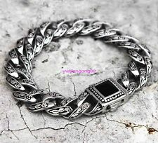 "8.5"" Black Stone Clasp With Stainless Steel Mens Curb Cuban Chain Bracelet 14mm"