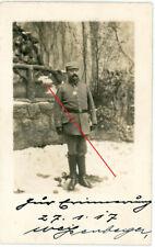 Fotokarte Waldlager Offizier mit Orden Eisernes Kreuz  WWI 14/18