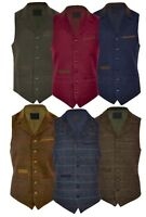 Mens Classic Wool Blend Waistcoat Herringbone Check Moleskin Lapel Formal S-3XL