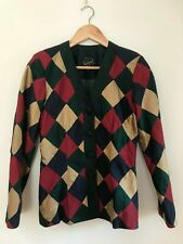 Ladies Vintage MONSOON TWILIGHT Silk Harlequin Diamond Blazer Size 10 Womens