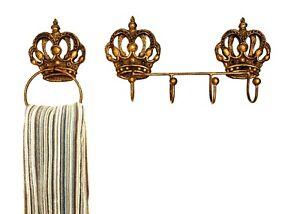 BATH TOWEL RING & 4-HOOK HANGER SET (2 PC) CROWN ORNATE DECOR Golden Brown