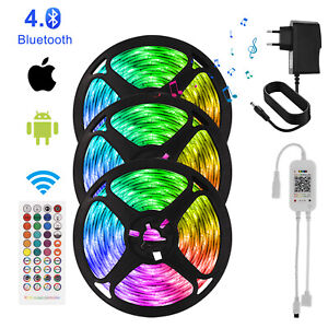 65ft 50ft LED 5050 Strip Lights 5-20m Music Sync Bluetooth APP Remote Lights EU
