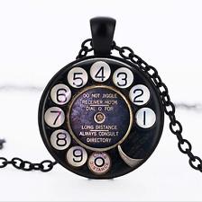 Telephone Dial Black Glass Cabochon Necklace chain Pendant Wholesale